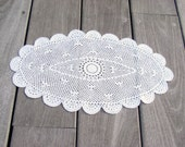 French vintage doily, white, handmade crochet, flower star design, beach house decor