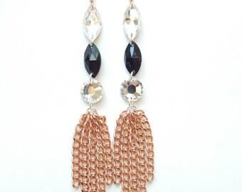 Statement Earrings rose gold earrings swarovski crystal chandelier earrings ALL THAT JAZZ