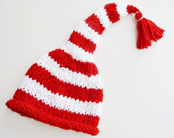 Organic Baby Christmas Elf Hat - Candy Cane Santa Stocking Cap - Size Preemie, 0-3 Months, 3-6 Months - Organic Eco Cotton