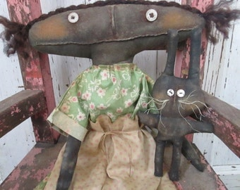 Made to Order ~Primitive Grungy Folk Art~ Clara and Her Rabbit Spring Doll Set~Hafair Team