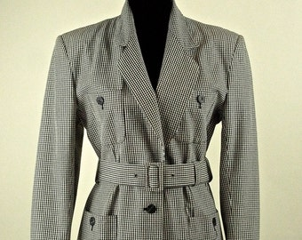 Tailored Checked Belted Safari Style Jacket  Vintage
