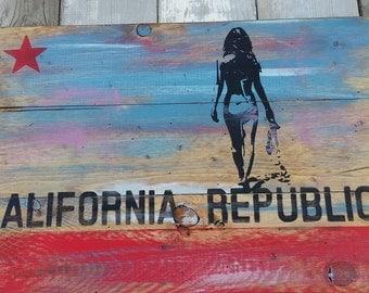 California Flag Little bikini surfer girl