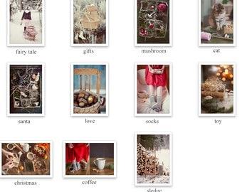 Christmas Photography Set, 5 Postcards, Holiday Photograph Collection, Winter Art Print, Christmas Toys, Snow, Gift, Santa, Cat Postcard