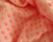 "DOWNSIZING SHOP SALE...Pink Two Tone Morgan Jones Popcorn Vintage Chenille Bedspread Fabric Piece...18 x 24"""