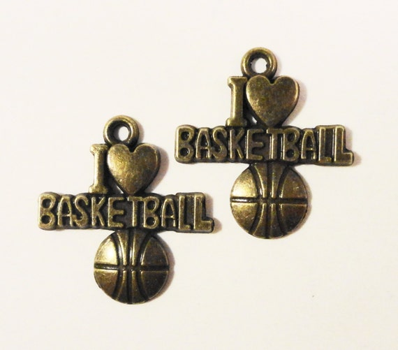 I Love Basketball Charms 21x18mm Antique Brass Metal (Bronze) I Heart Basketball Sports Charm Pendant Jewelry Making Jewelry Findings 10pcs