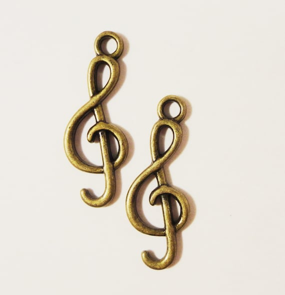 Music Note Charms 25x9mm Antique Brass Metal (Bronze) Cleft Note Musical Melody 2 Sided Charm Pendant Jewelry Making Jewelry Findings 10pcs