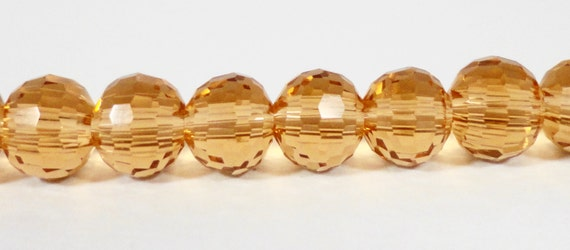 """Yellow Crystal Beads 6mm Round Golden Honey Micro Faceted Disco Ball Style Chinese Crystal Glass Beads on a 6 3/4"""" Strand with 33 Beads"""
