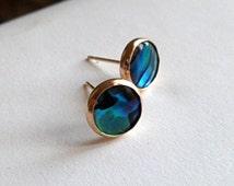Abalone gold stud earrings, gold abalone studs, shell studs, natural abalone shell.