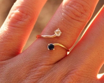 Dual Birthstone Ring - Saphhire and Diamond Cubic Zirconia Ring - 14K Gold Filled Ring -Double Birthstone Ring
