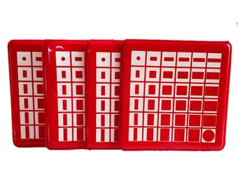 red . COASTER SET  //  Mod vintage red and white geometric plastic coaster set