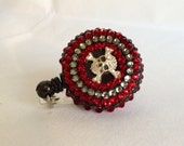 """Gothic Blood Red and Black Diamond Crystal and Rhinestone Encrusted Skull Badge Holder With 30"""" Reel And Slide Clip Backing"""