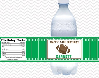 Football - Personalized Water bottle labels - Set of 5 Waterproof labels