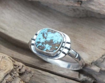Bisbee Turquoise, sterling silver handmade ring