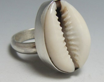 Sterling Cowrie Shell Ring