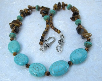 Turquoise Howlite and Tiger Eye Necklace
