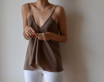 Womens beige taupe fawn bias cut, flowing top with v front and low v back, adjustable straps, boho, evening or casual. One size.