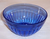 Hazel Atlas Depression Glass Cobalt Blue AURORA 4 1/2 Inch Deep Bowl