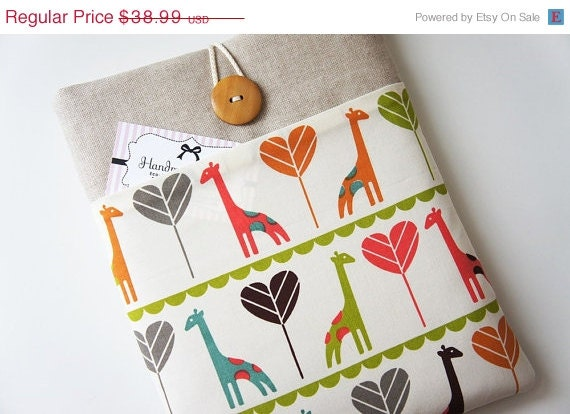 15 % ON SALE 100 Percent Premuim Organic Cotton -13 inch Laptop Cover - Macbook Air-Pro, Custom Size13'' Laptop - Padded Sleeve - Unique Han