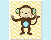 Nursery Art Prints, Monkey Nursery, Baby Boy Nursery Prints, Safari, Jungle, Nursery Wall Decor, Chevron, Yellow, brown, Children Wall Art