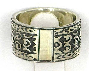 DeGruchy Size 6 Sterling Silver ring tribal design