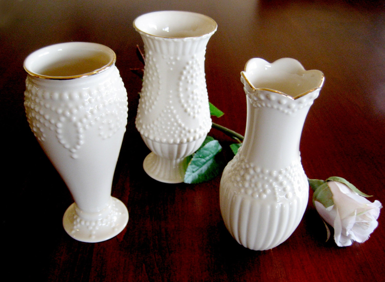 Set Of 3 Lenox Beaded Bud Vases Vanity Decor Classic Lenox