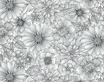 Henry Glass - Black White & Currant lll by Color Principle Floral 7716-44 by the Yard