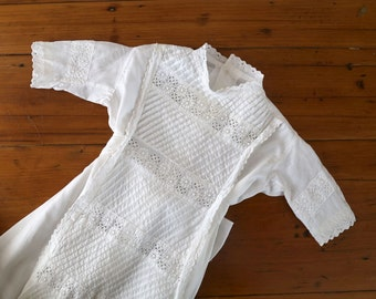Antique Christening Gown, Victorian Christening Gown with pin tucks, Handmade Baby Gown, 1888 Christening Gown, Embroidery and Lace Gown