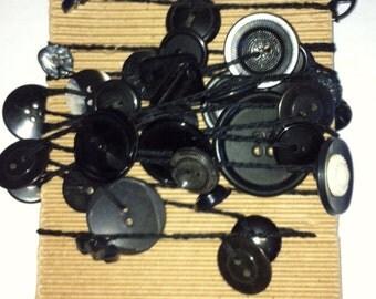 SALE Black vintage button garland 9 ft