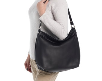 Leather hobo bag  - Black hobo bag - Large leather hobo bag - LARGE HELEN
