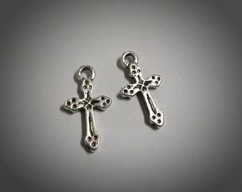 Cross Charms-Catholic Cross-Antiqued Silver-Religious Charms-19mm-Bulk Charms-Wholesale: 100pcs