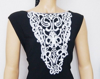 FREE SHIPPING Lux collar necklace- Luxury Handmade Cotton Lace Applique Collar- White- Peter Pan collar- Woman- Woman Applique