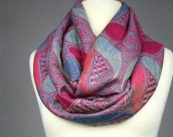 Large paisley  Infinity Scarf , Pashmina ,  Hot Pink, Blue