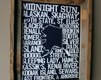 Beers of Alaska Word Map (Dark Blue) - Unframed