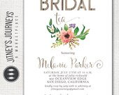 Bridal Shower Invitation, Floral Watercolor, Tea, Rustic Barnwood, Wood, Party, Custom, Printable, Invite, Boy, Girl, Baby, Neutral, Wedding