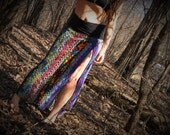 RaiNbOwsEND~ crocheted Skirt - Up-cycled~Festival, burning man, dancing, Bright colors, sexy