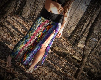 RESERVED FOR ANGIE!! RaiNbOwsEND~ crocheted Skirt - Up-cycled~Festival, burning man, dancing, Bright colors, sexy
