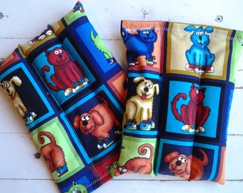 Small Rice Bags Set of 2 Dog and Cat Motif Rice Bags Microwave and Freezer Kids Silly Pet Boo Boo Bags