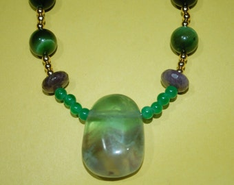 Necklace with Fluorite Pendant, Tiger's Eye, Purple Jade, Amethyst, Adventurine, Gold Spacers and Gold Toggle Clasp