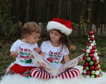Christmas Im Nice Shes Naughty Girls Boys Sibbling Matching Christmas Shirts