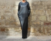 Black Leather Maxi dress, Plus size dress, Long dress, Long sleeves dress, Fall Winter dress, Elegant dress