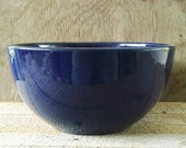 """Blue Stoneware Bowl Colbalt Blue Yellow Ware 10"""" Nested Mixing Very Heavy"""