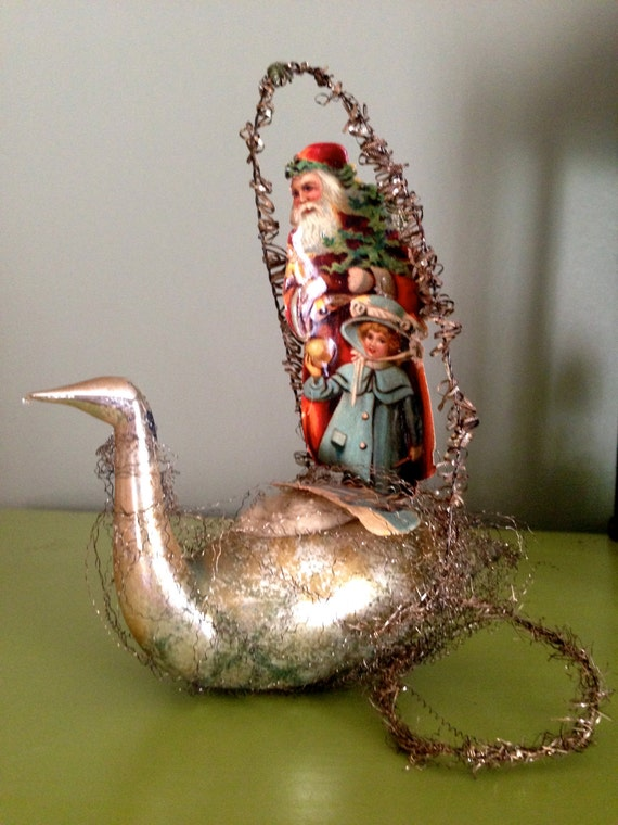Antique father christmas scrap ornament by santashauntedboot