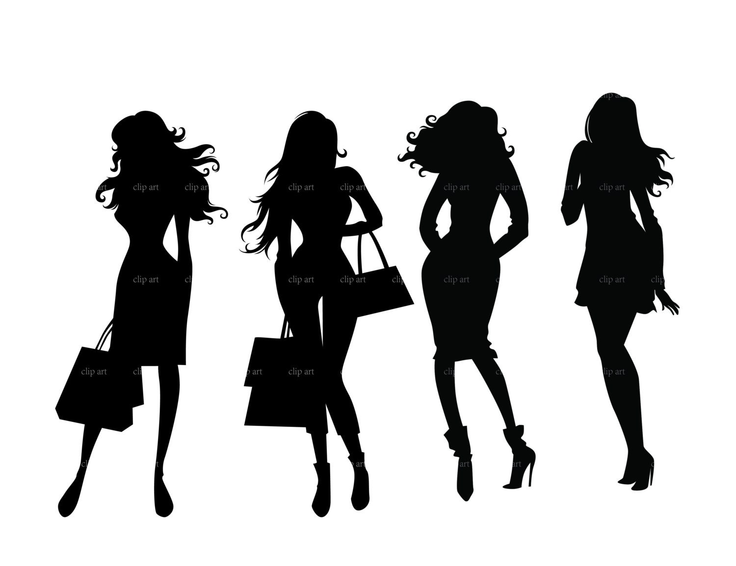 Fashion Shopping Girls Silhouette Digital Clipart Vector Eps