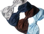 Large Pale Blue, Navy Blue, Brown or Silver Satin Hair Bow--For Girls, For Teens, For Women
