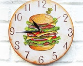 The Hamburger Wall Clock Home Decor wall clocks handmade, hand painted clock, hamburger food clock food decor Cooking