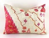 SALE Lumbar Pillow Decorative Pillow Cover Designer Pillow Red Pillow Richloom Aubusson Blend Coral