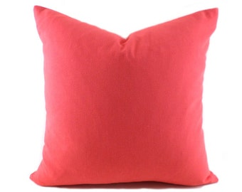 Coral Pillow Covers ANY SIZE Decorative Pillow Cover Coral Pillow Premier Prints Solid Coral