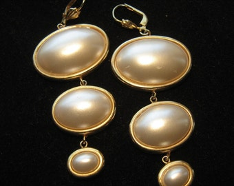 Bold 80s Dangling Pearl Vintage Earrings Dramatic!