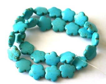 15 mm Turquoise Blue Turquoise, Magnesite Puffed Flower Gemstone Beads
