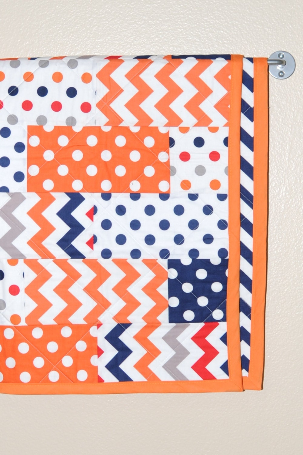 Boy Quilt In Navy Orange Red And Gray Crib Quilt With Navy
